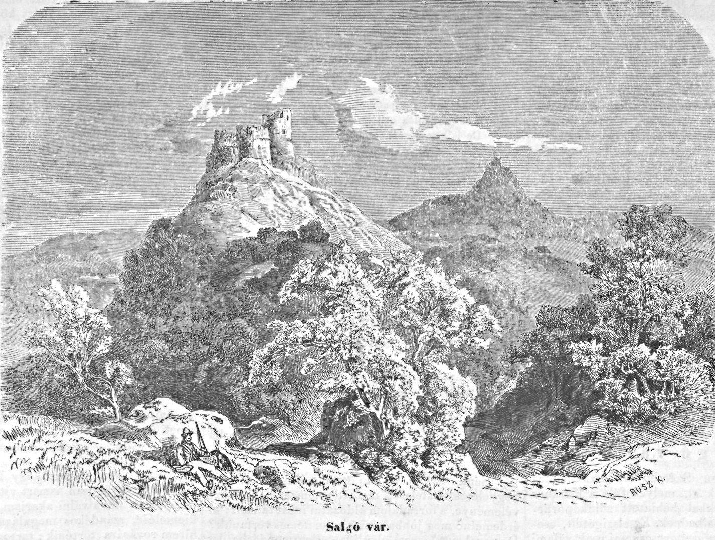 Metszet Salgó váráról a Vasárnapi Újság 1867. évfolyamában